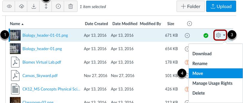 Mover un archivo usando el botón mover o el ícono de configuraciones