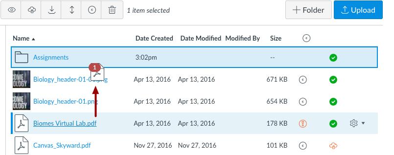 Mover archivos mediante arrastrar y soltar