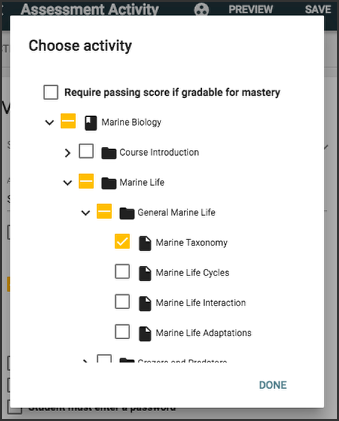 image showing choose activity panel with activity boxes checked