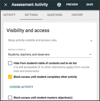 image showing visibility and access panel for assessment settings