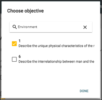 image showing choose objective panel