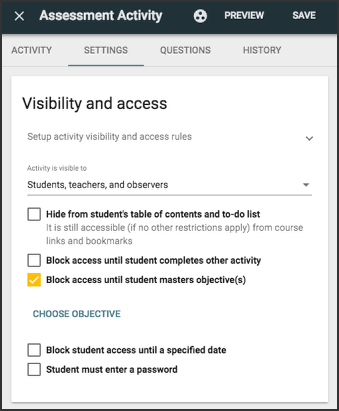 image showing visibility and access settings panel with block access until student masters objectives checked