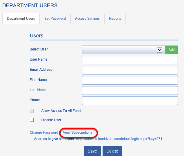 On the DEPARTMENT USERS tab, you can view the reports to which a Department User is subscribed.