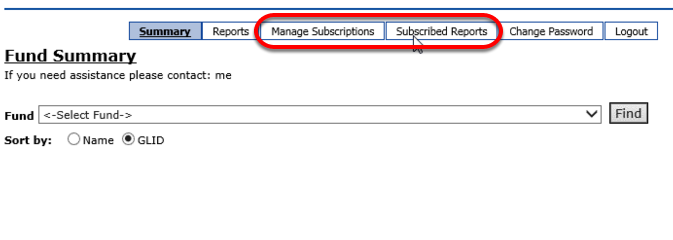 Below is what it will look like to the Department User that has been given rights to a report subscription. The MANAGE SUBSCRIPTIONS and SUBSCRIBED REPORTS tabs will appear. Users not granted subscription access will not see these tabs.