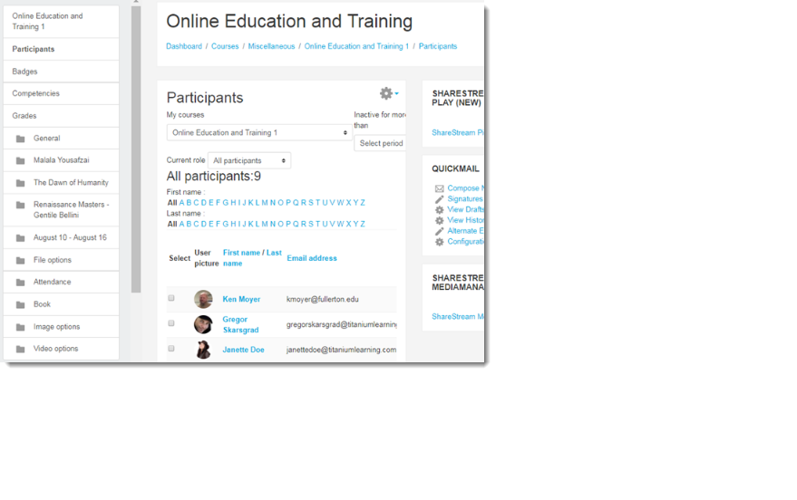 View the list of participants in the course.