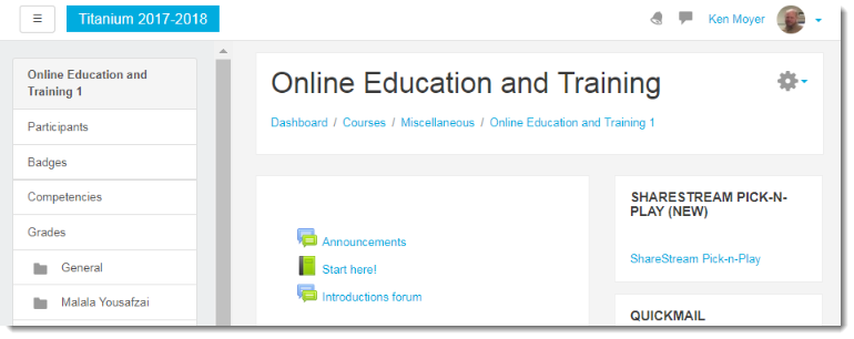 course main page.