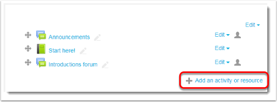 Add activity or resource link is selected.