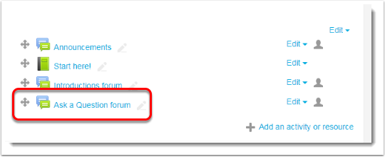 The new forum is now on your course main page.