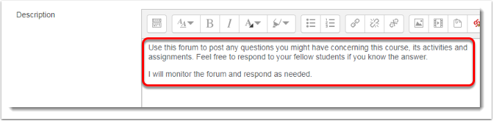 Description field is selected for adding content.