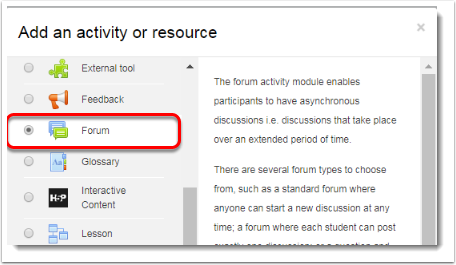 Forum is selected