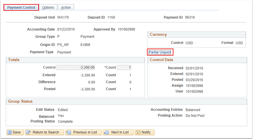 Payment Control Tab