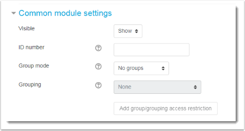 Common module settings section