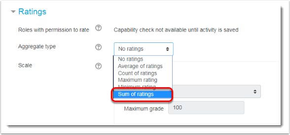 Aggregate type field has Sum of ratings selected.