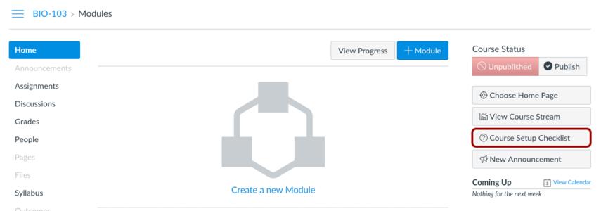 Abrir a Lista de verificação da configuração do curso (Open the Course Setup Checklist)