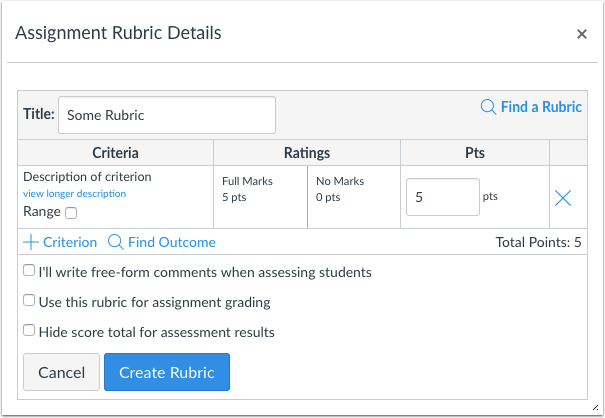 Create New Rubric