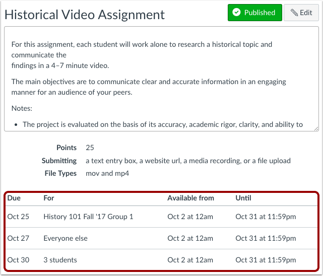 View Assignment Dates