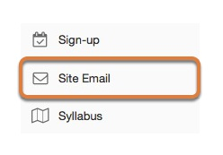 To access this tool, select Site Email from the Tool Menu in your site.