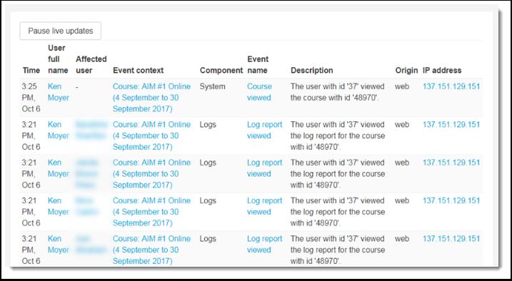 sampe Live logs report