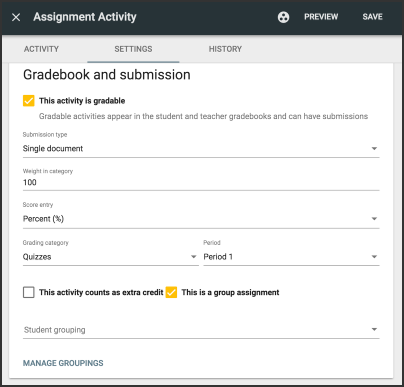 Image of the Assignment activity screen with the settings tab open. This activity is gradable is selected, as is This is a group assignment.