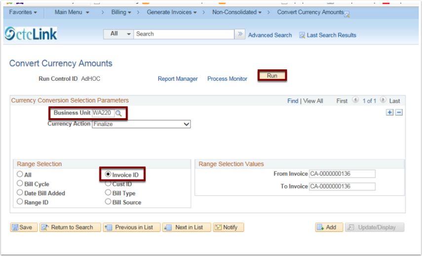 Convert Currency Amounts page