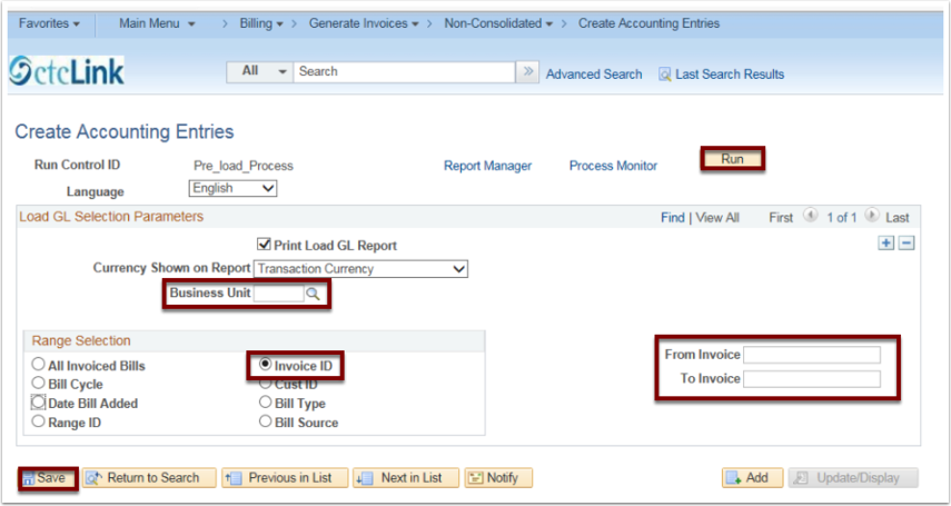 Create Accounting Entries page