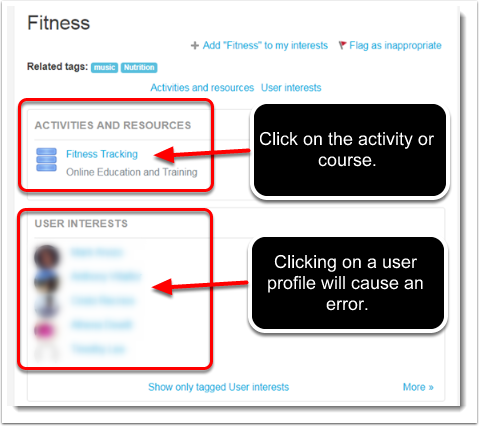 All of the locations where the 'fitness' tag is used, will display.
