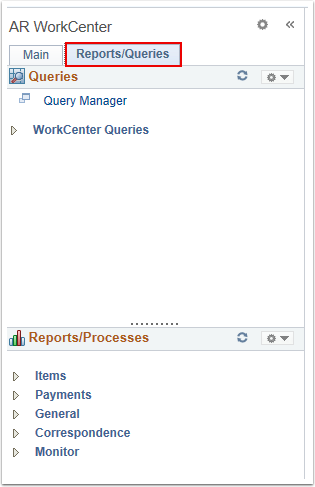 Reports/Queries Tab
