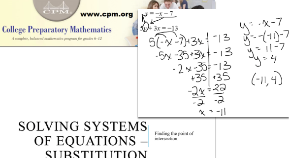 Solving Systems of Equations - Substitution
