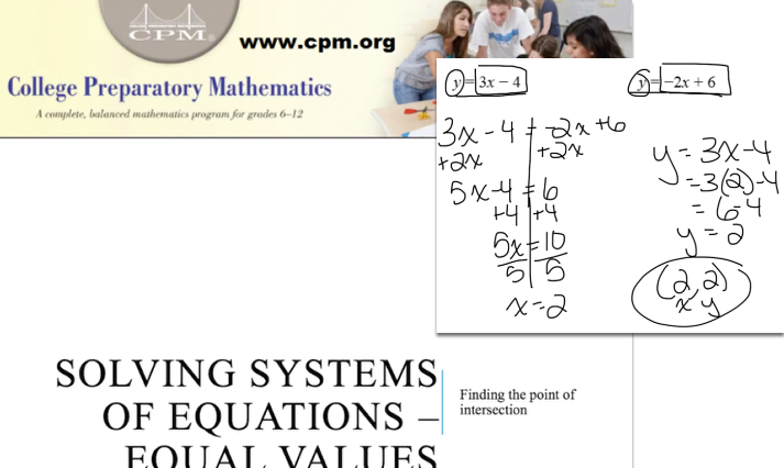 Solving Systems of Equations - Equal Values