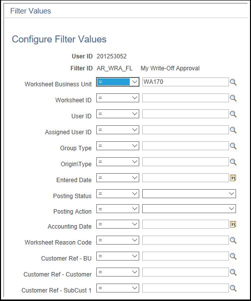 Filter Values