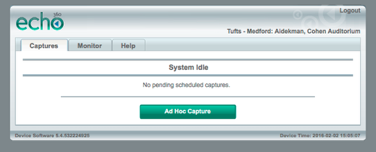 Wait until the green Ad Hoc Capture button reappears before logging out.