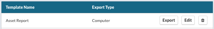 CSV Export Template List