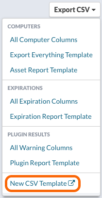 Export CSV > New CSV Template