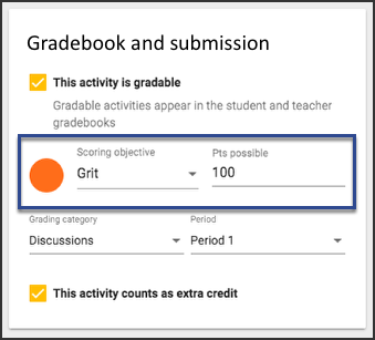 The gradebook and submission card for multi-outcome scoringhighlighting the scoring objective Grit.