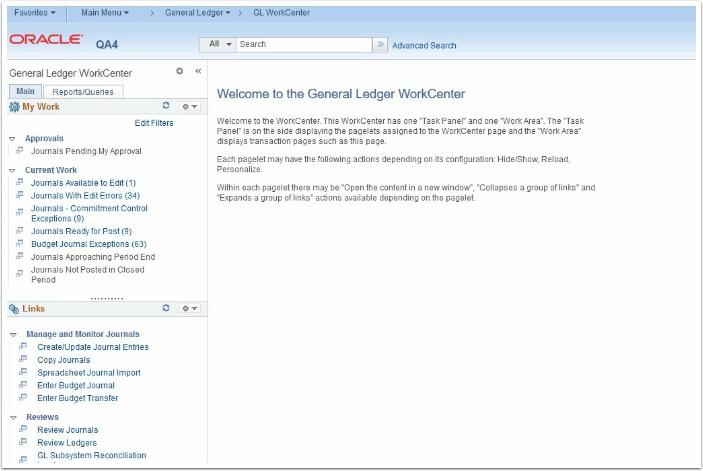 Genereal Ledger WorkCenter page