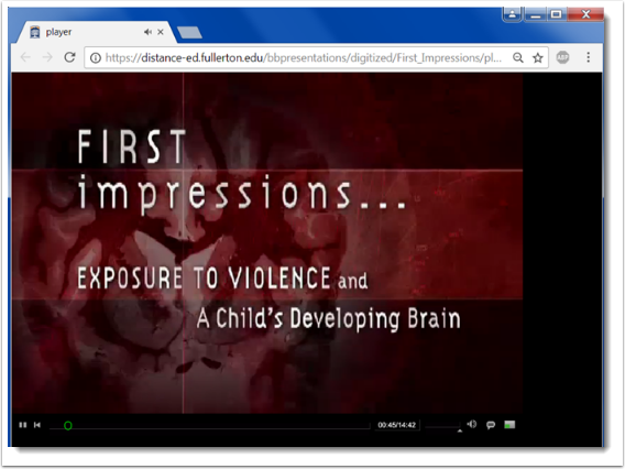 video plays in web browser.