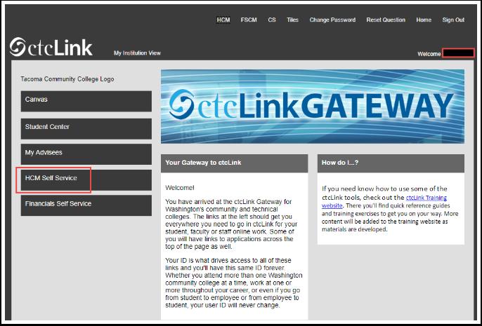 ctcLink Gateway screen