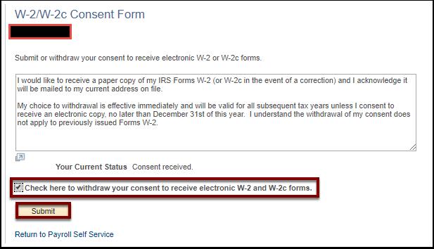 W 2w 2c Electronic Consent Employee Self Service Ctclink