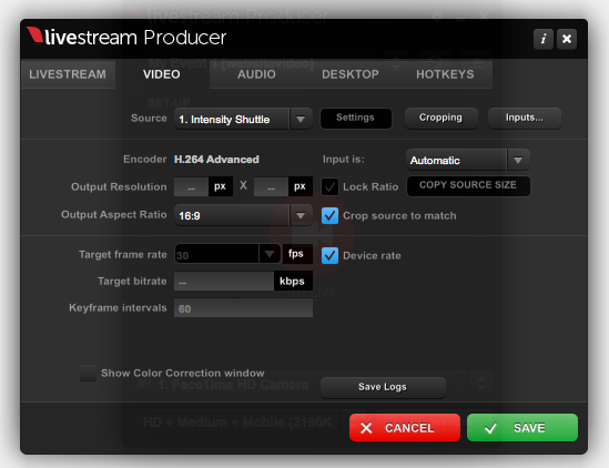 Video Preferences Menu – Livestream