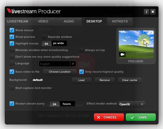 Desktop Preferences Menu – Livestream