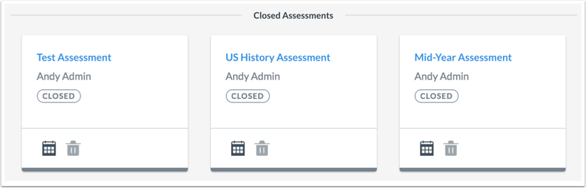 View Closed Assessments
