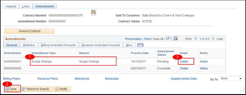 Amendments tab