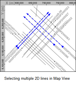 Select multiple 2D lines in the Map View