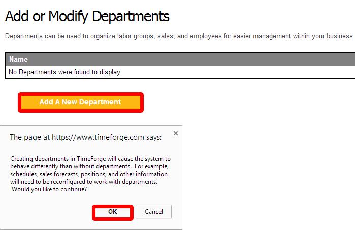Enabling departments inside of TimeForge.