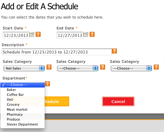 Schedules can be created on a department basis