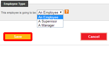 Add or edit the employee type option.
