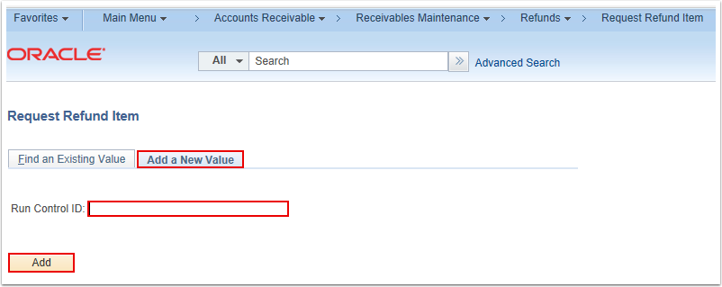 Request Refund Item Search Page