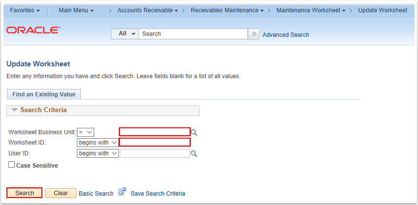 Update Worksheet Search Page