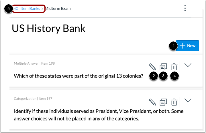 Manage Item Bank Questions