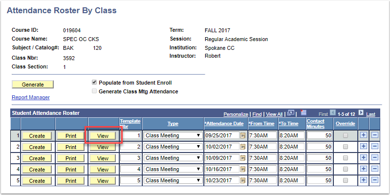 Attendance Roster by Class page